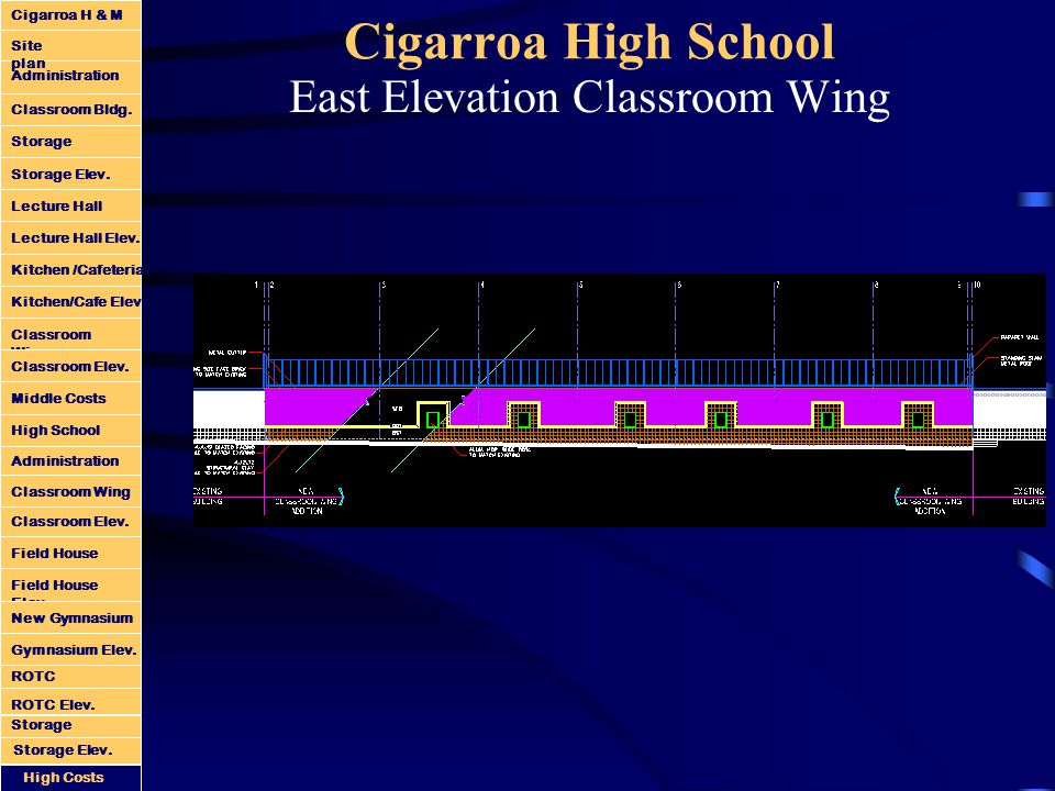 Cigarroa High School East Elevation Classroom Wing Administration Classroom Bldg.