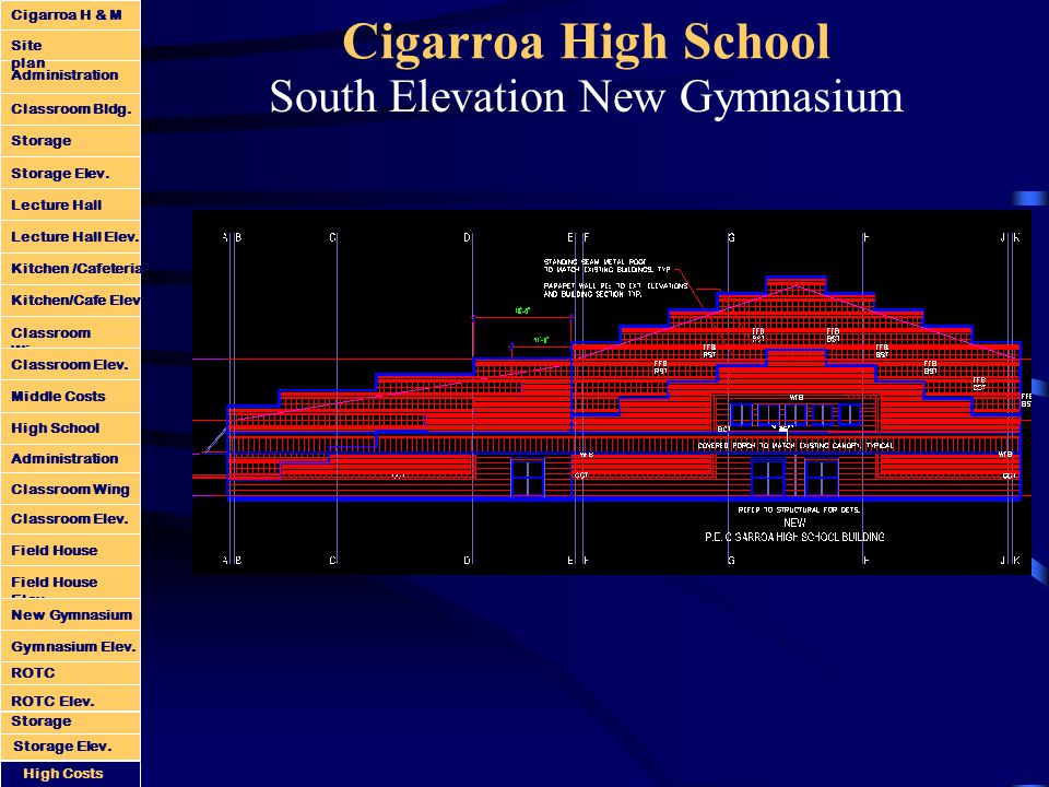 Cigarroa High School South Elevation New Gymnasium Administration Classroom Bldg.