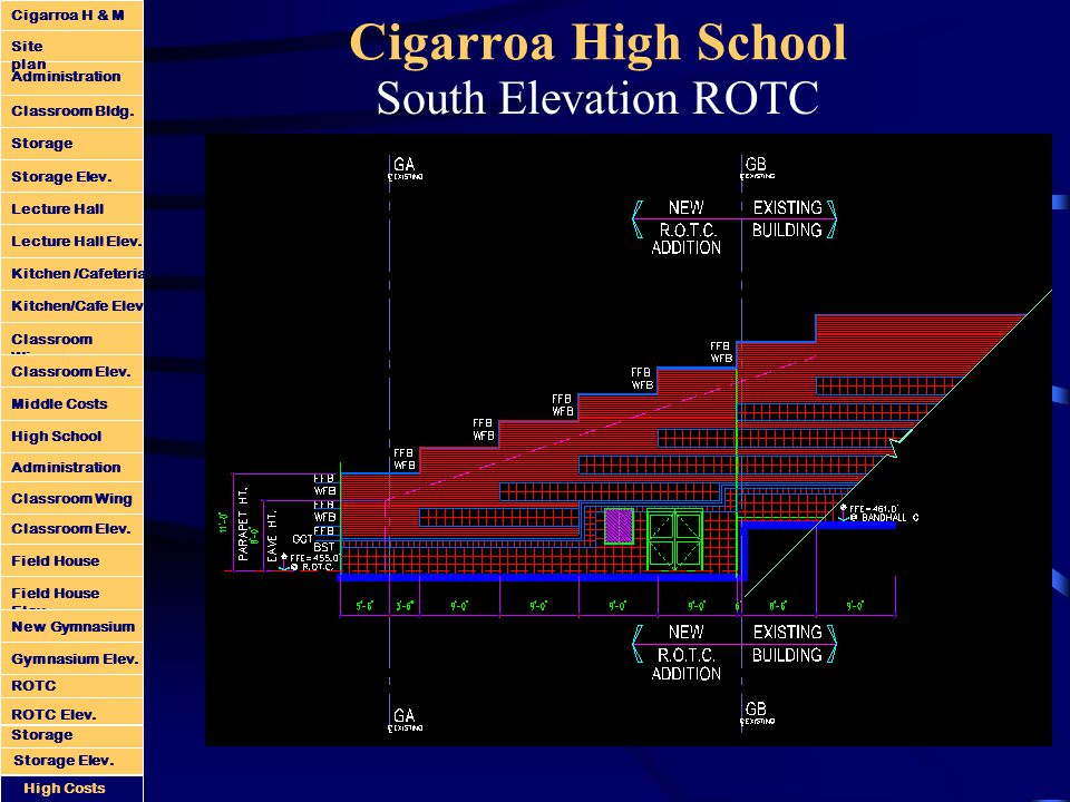 Cigarroa High School South Elevation ROTC Administration Classroom Bldg.