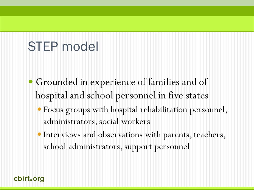 cbirt. org STEP model Grounded in experience of families and of hospital and school personnel in five states Focus groups with hospital rehabilitation