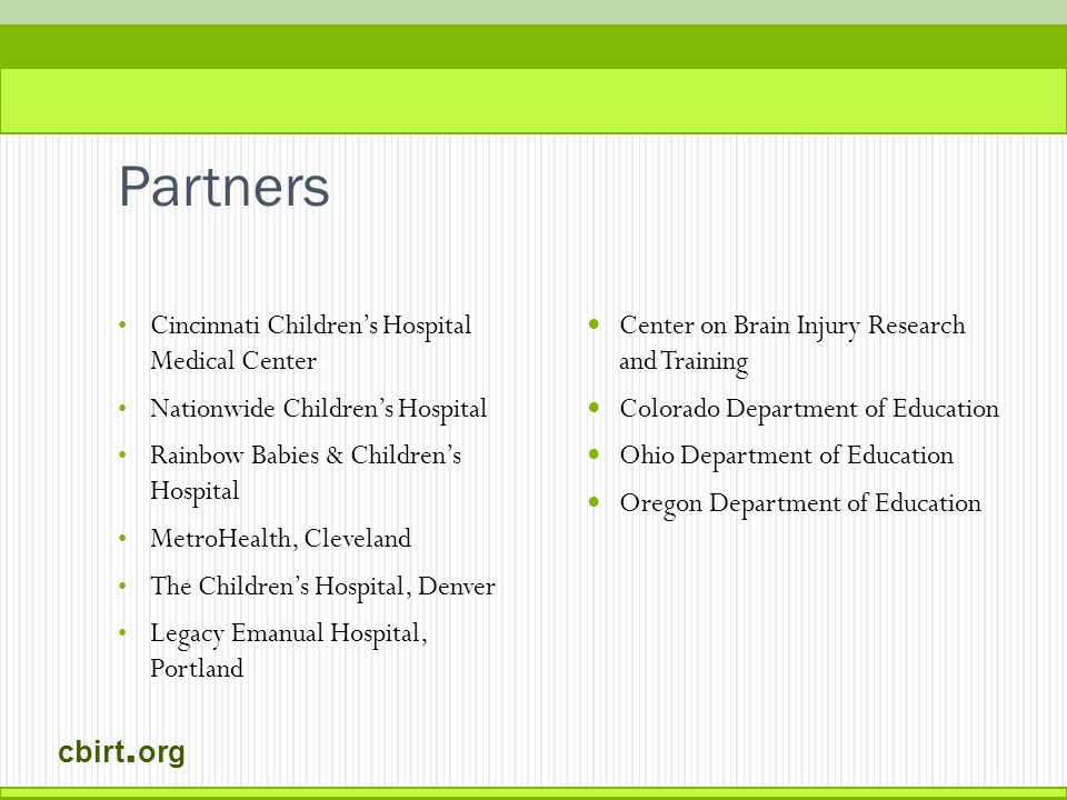 cbirt. org Improving the link between hospital and school