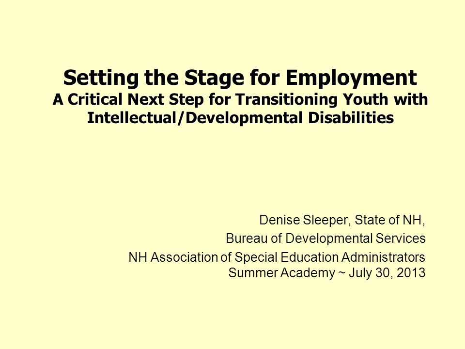 Setting the Stage for Employment A Critical Next Step for Transitioning Youth with Intellectual/Developmental Disabilities Denise Sleeper, State of NH