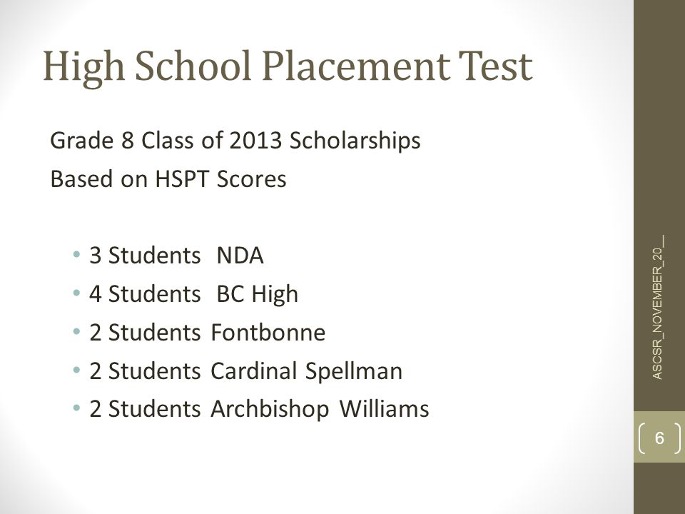 High School Placement Test Grade 8 Class of 2013 Scholarships Based on HSPT Scores 3 Students NDA 4 Students BC High 2 Students Fontbonne 2 Students Cardinal Spellman 2 Students Archbishop Williams 6 ASCSR_NOVEMBER_20__