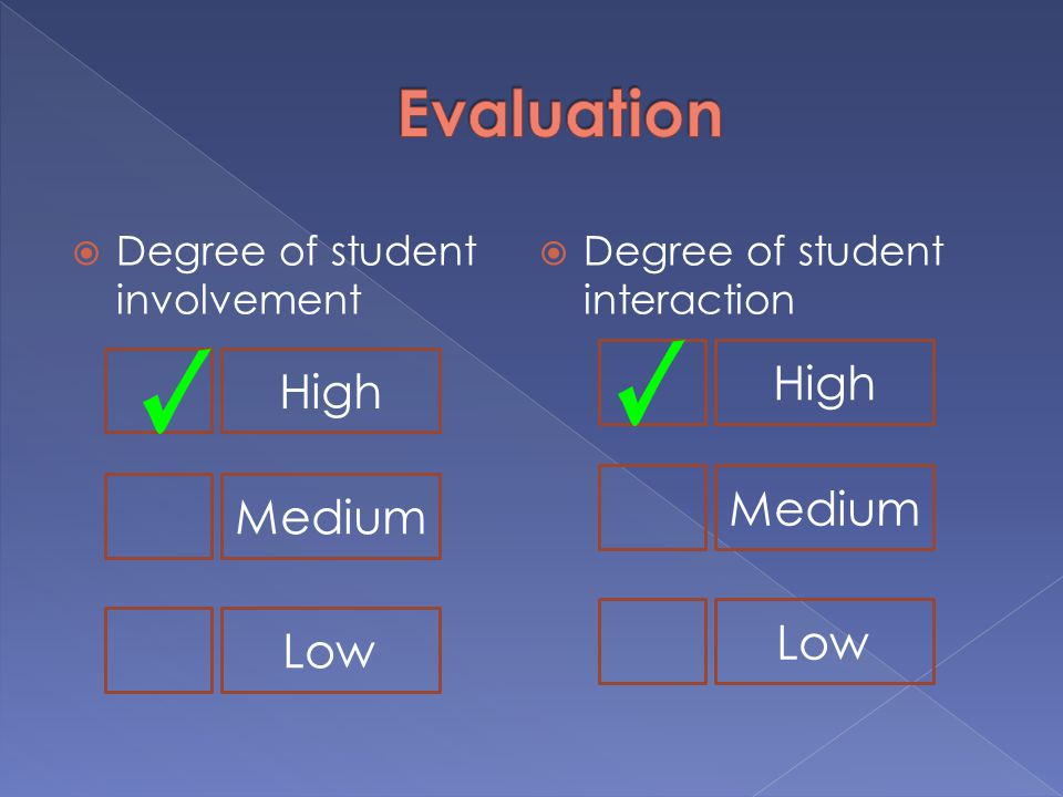  Degree of student involvement  Degree of student interaction High Medium Low High Medium Low