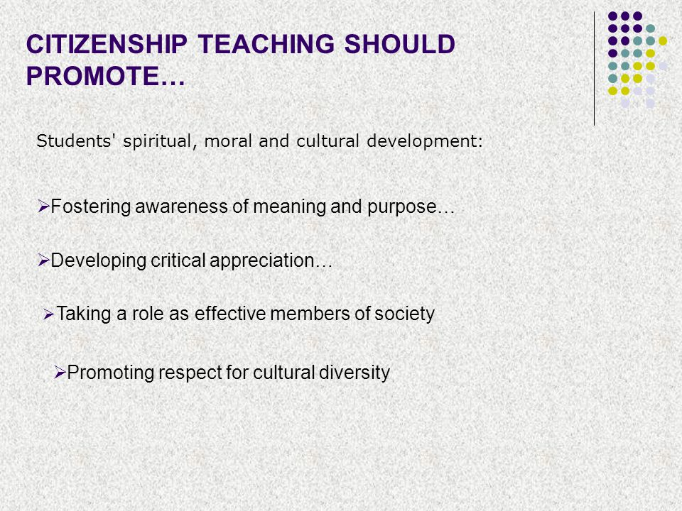 CITIZENSHIP TEACHING SHOULD PROMOTE… Students' spiritual, moral and cultural development:  Fostering awareness of meaning and purpose…  Developing c