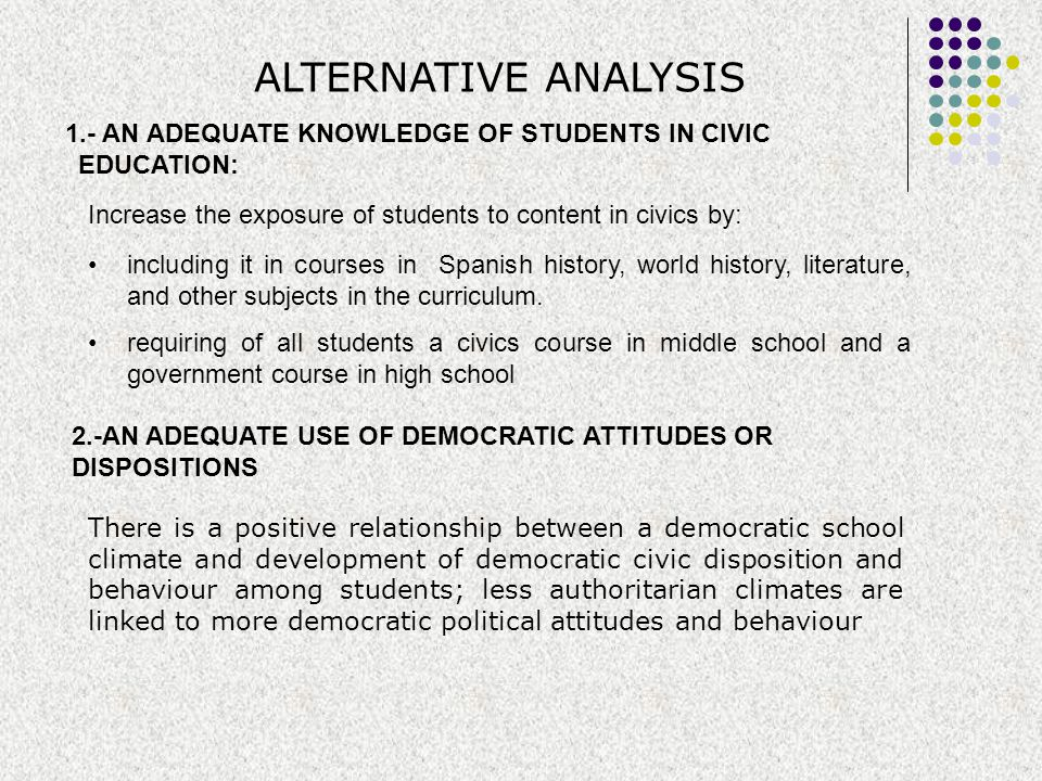 ALTERNATIVE ANALYSIS 1.- AN ADEQUATE KNOWLEDGE OF STUDENTS IN CIVIC EDUCATION: including it in courses in Spanish history, world history, literature,