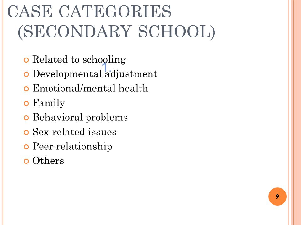 CASE CATEGORIES (SECONDARY SCHOOL) Related to schooling Developmental adjustment Emotional/mental health Family Behavioral problems Sex-related issues