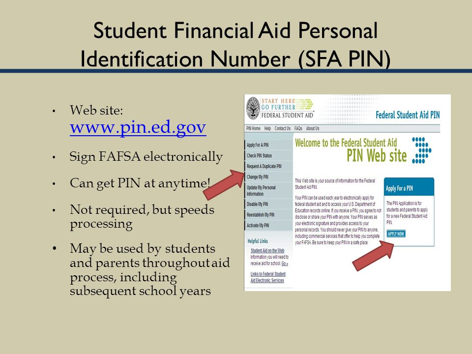 Student Financial Aid Personal Identification Number (SFA PIN) Web site: www.pin.ed.gov www.pin.ed.gov Sign FAFSA electronically Can get PIN at anytime.