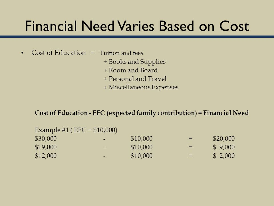 Financial Need Varies Based on Cost Cost of Education = Tuition and fees + Books and Supplies + Room and Board + Personal and Travel + Miscellaneous Expenses Cost of Education - EFC (expected family contribution) = Financial Need Example #1 ( EFC = $10,000) $30,000-$10,000 = $20,000 $19,000-$10,000 = $ 9,000 $12,000-$10,000 = $ 2,000