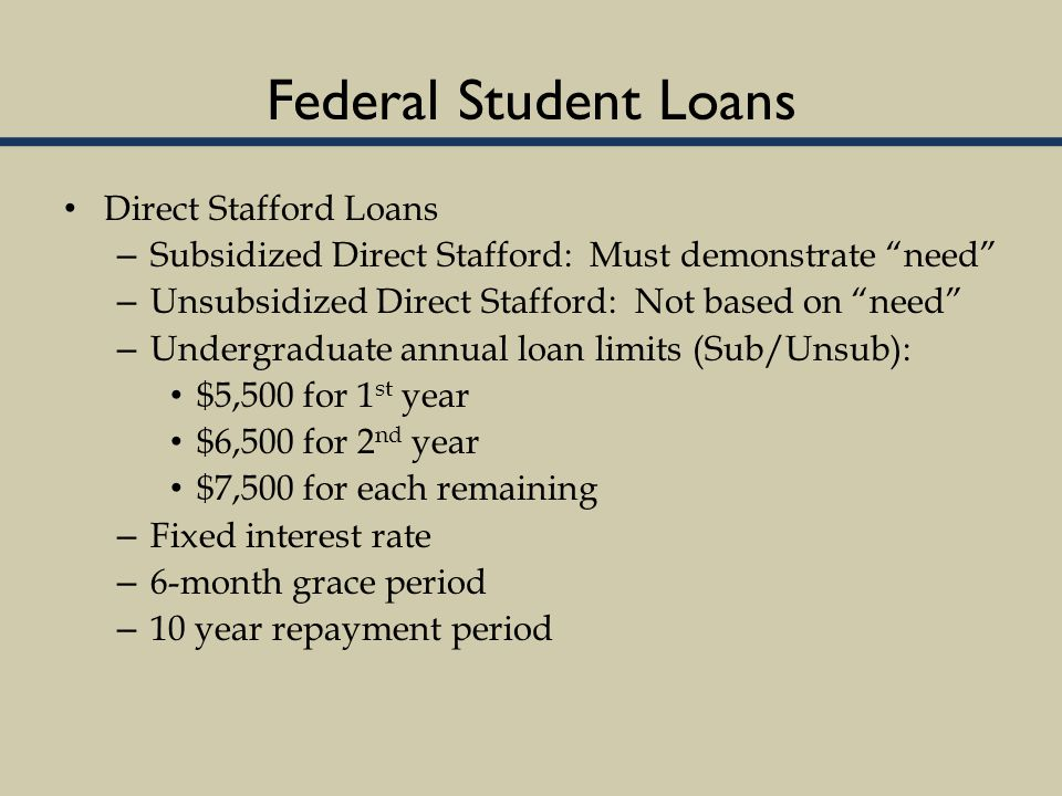 Federal Student Loans Direct Stafford Loans – Subsidized Direct Stafford: Must demonstrate need – Unsubsidized Direct Stafford: Not based on need – Undergraduate annual loan limits (Sub/Unsub): $5,500 for 1 st year $6,500 for 2 nd year $7,500 for each remaining – Fixed interest rate – 6-month grace period – 10 year repayment period