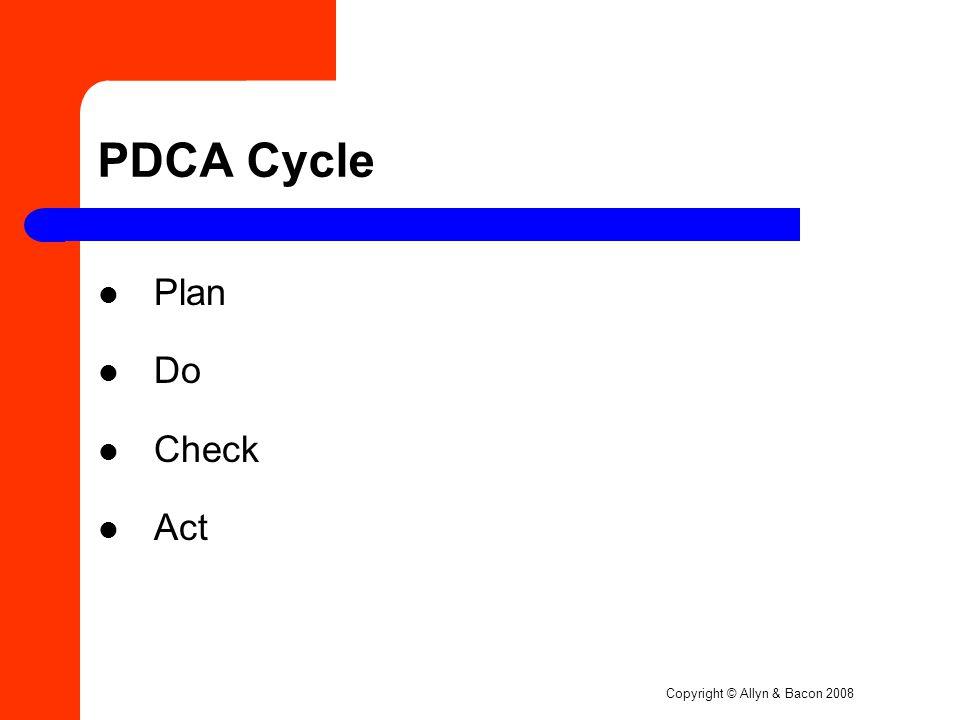 Copyright © Allyn & Bacon 2008 PDCA Cycle Plan Do Check Act