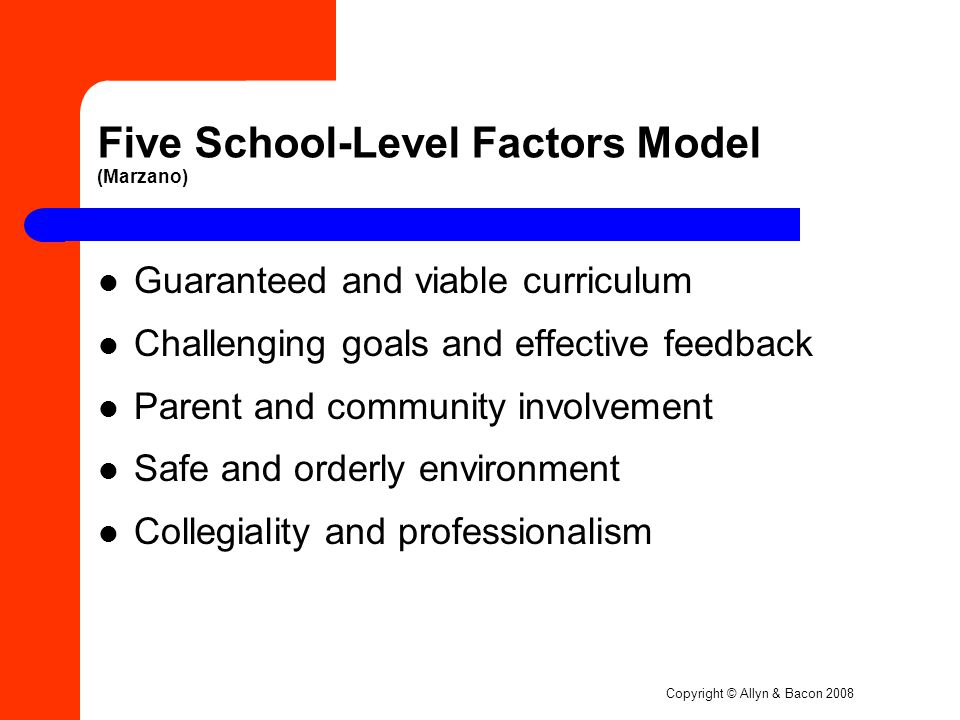 Copyright © Allyn & Bacon 2008 Five School-Level Factors Model (Marzano) Guaranteed and viable curriculum Challenging goals and effective feedback Parent and community involvement Safe and orderly environment Collegiality and professionalism