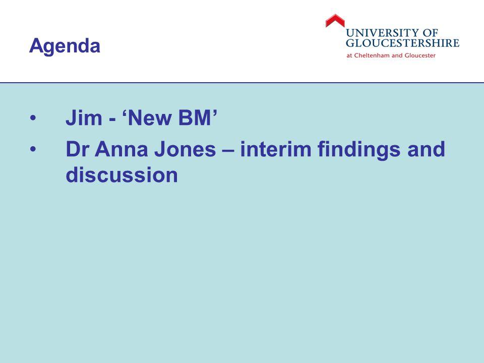 Agenda Jim - 'New BM' Dr Anna Jones – interim findings and discussion