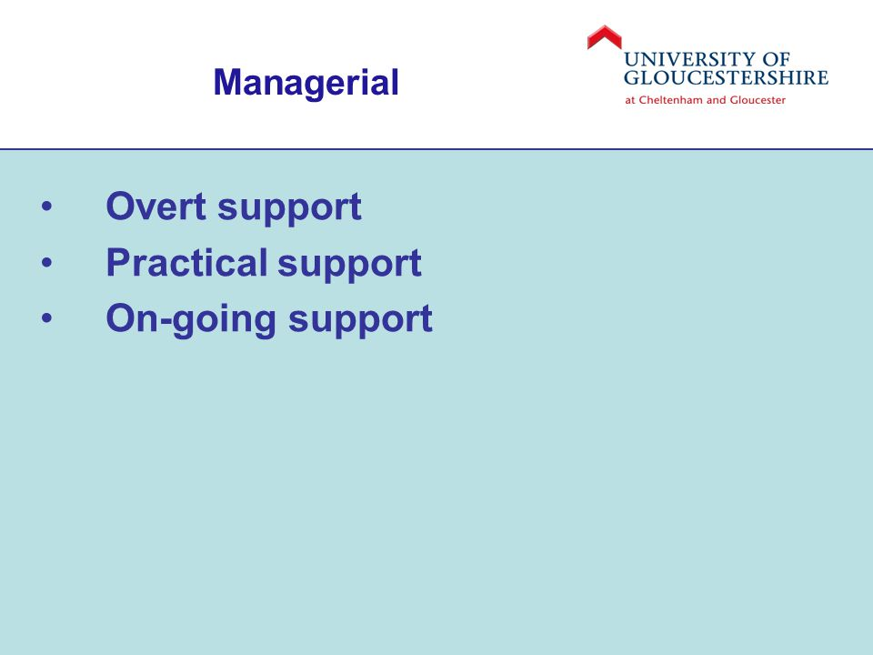 Managerial Overt support Practical support On-going support