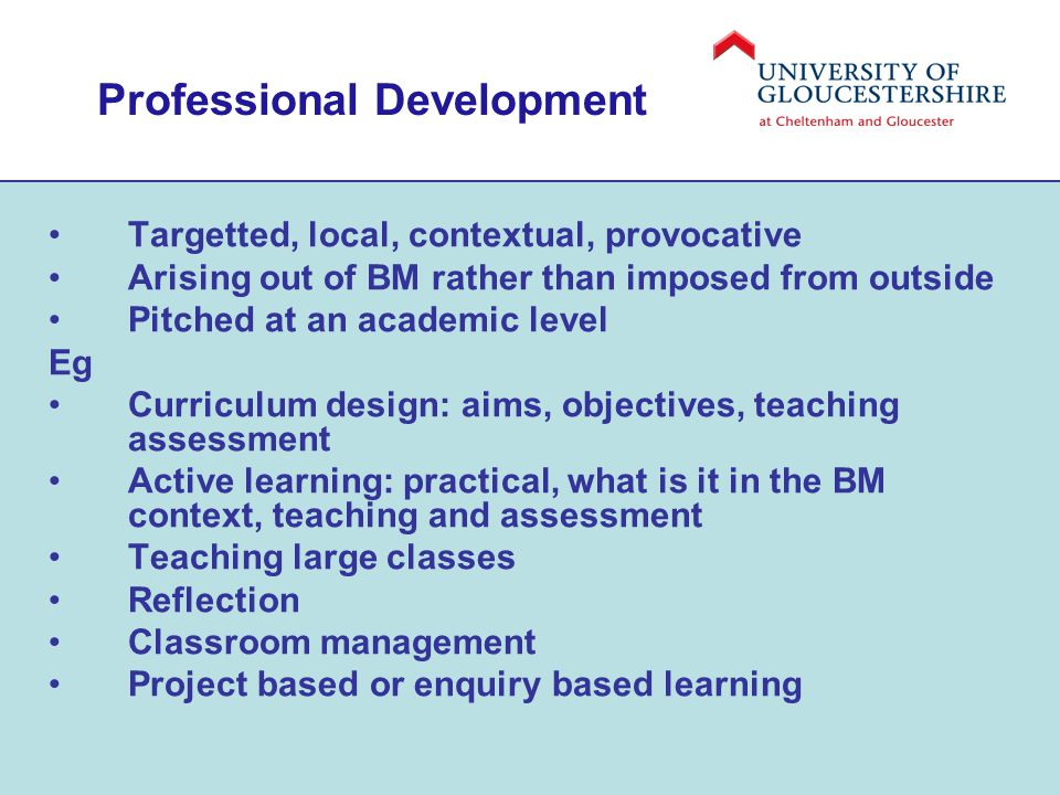 Professional Development Targetted, local, contextual, provocative Arising out of BM rather than imposed from outside Pitched at an academic level Eg Curriculum design: aims, objectives, teaching assessment Active learning: practical, what is it in the BM context, teaching and assessment Teaching large classes Reflection Classroom management Project based or enquiry based learning