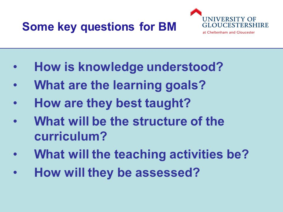 Some key questions for BM How is knowledge understood.