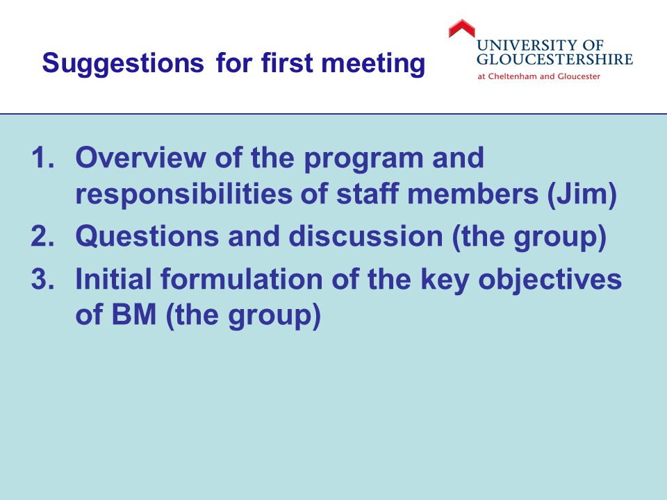 Suggestions for first meeting 1.Overview of the program and responsibilities of staff members (Jim) 2.Questions and discussion (the group) 3.Initial formulation of the key objectives of BM (the group)