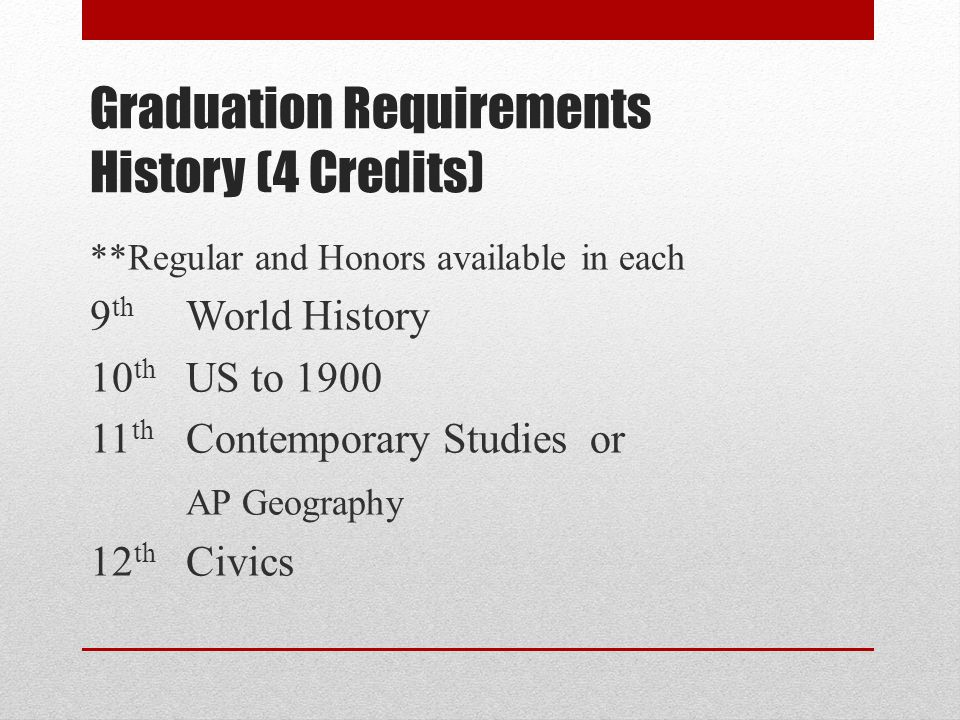 Graduation Requirements History (4 Credits) **Regular and Honors available in each 9 th World History 10 th US to 1900 11 th Contemporary Studies or A