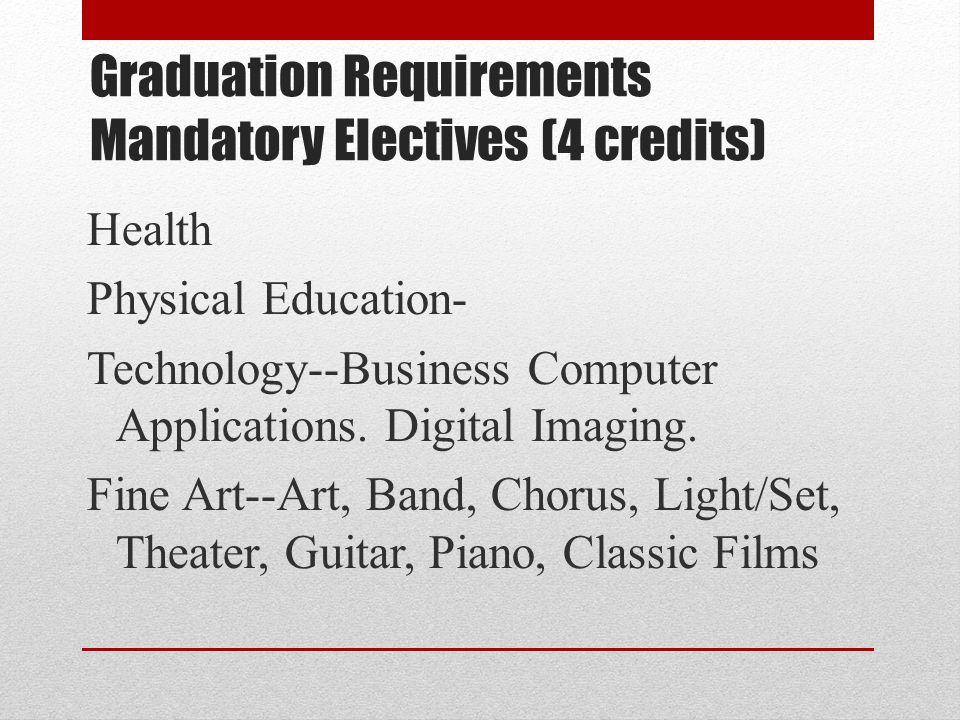 Health Physical Education- Technology--Business Computer Applications. Digital Imaging. Fine Art--Art, Band, Chorus, Light/Set, Theater, Guitar, Piano