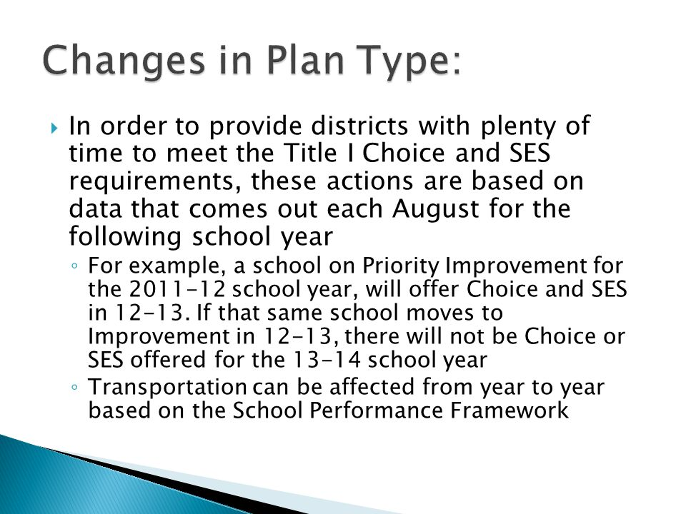  In order to provide districts with plenty of time to meet the Title I Choice and SES requirements, these actions are based on data that comes out each August for the following school year ◦ For example, a school on Priority Improvement for the 2011-12 school year, will offer Choice and SES in 12-13.