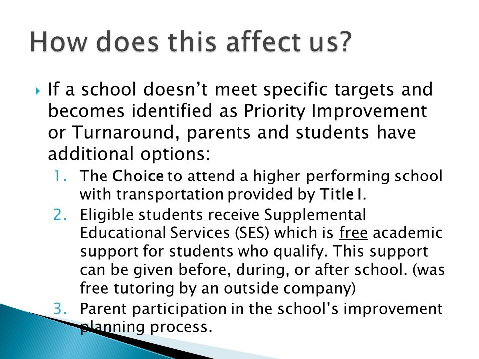  Students attending Priority Improvement or Turnaround Schools can attend a higher performing school by completing the Title I Choice application sent out in mid-year.