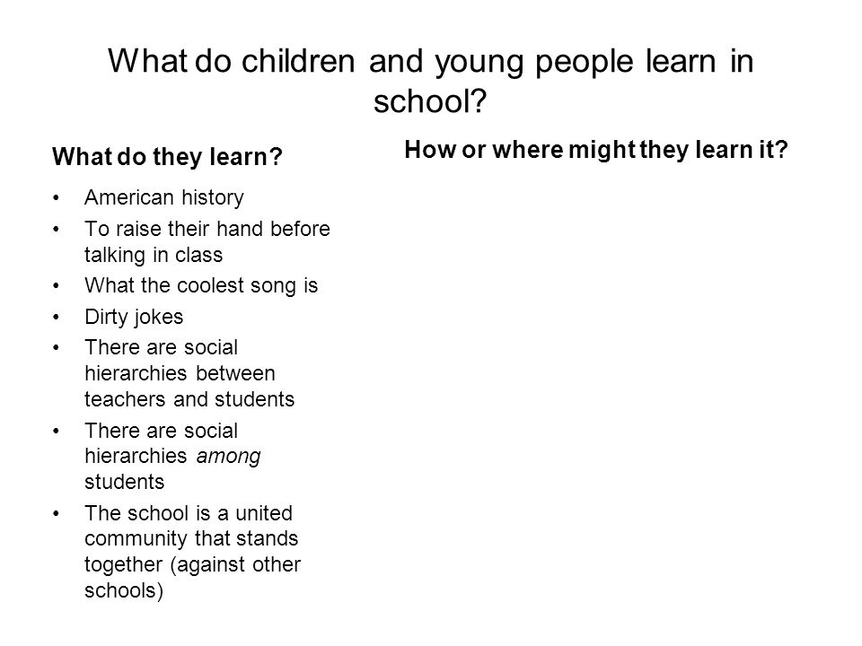 What do children and young people learn in school.