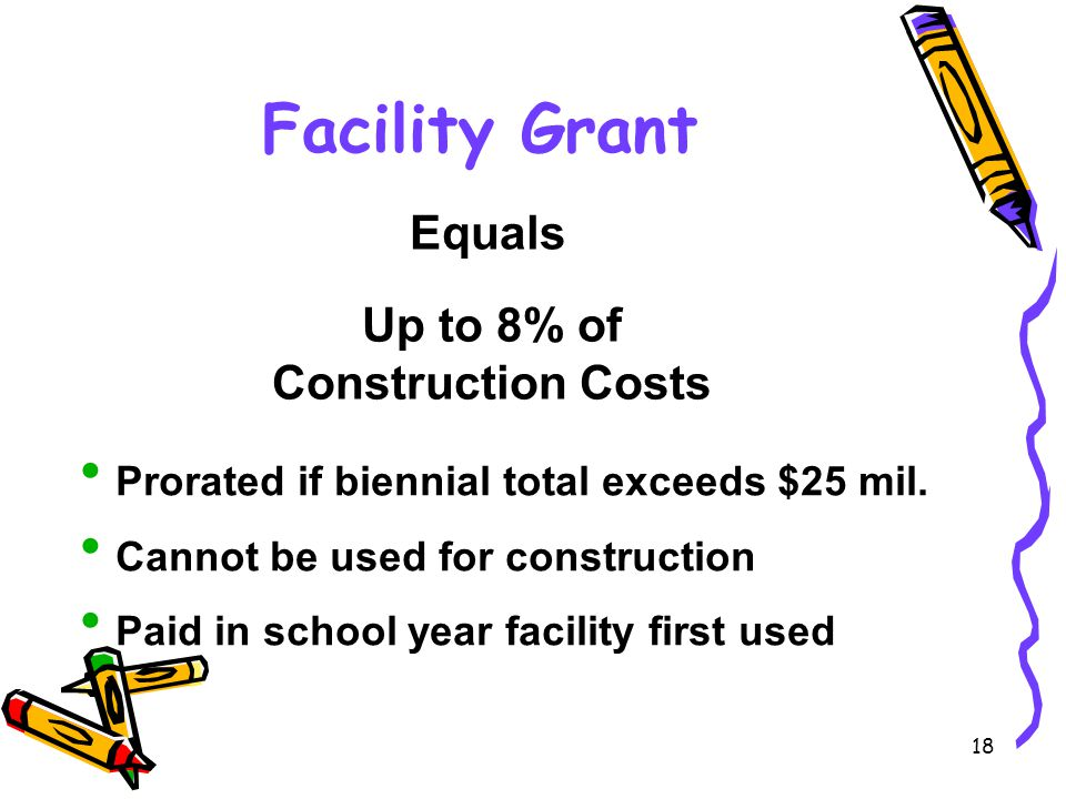 18 Facility Grant Equals Up to 8% of Construction Costs  Prorated if biennial total exceeds $25 mil.
