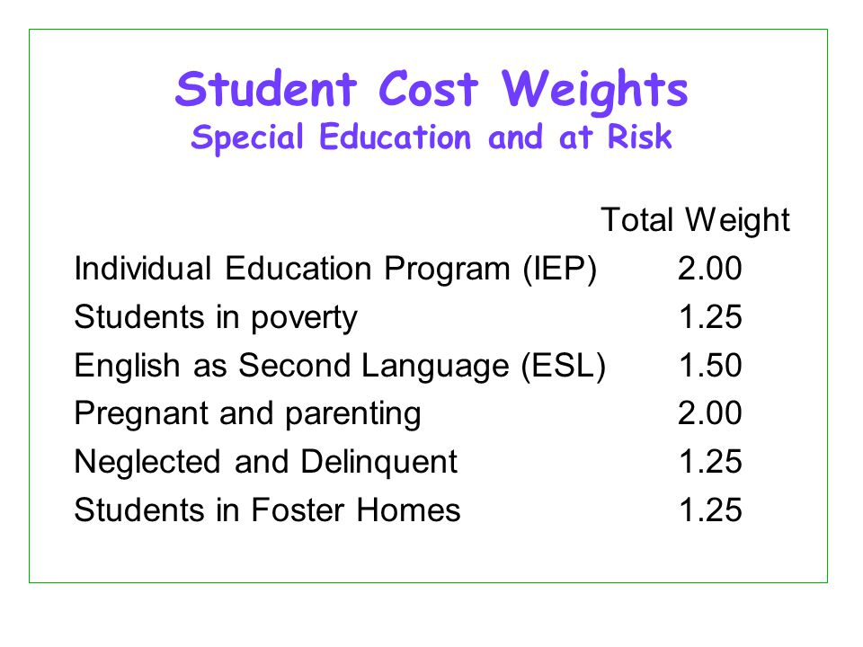 Student Cost Weights Special Education and at Risk Total Weight Individual Education Program (IEP) 2.00 Students in poverty 1.25 English as Second Language (ESL) 1.50 Pregnant and parenting2.00 Neglected and Delinquent 1.25 Students in Foster Homes1.25