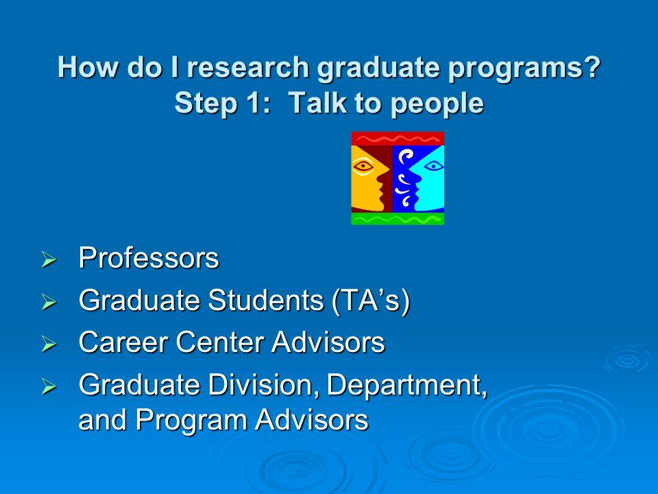 How do I research graduate programs.
