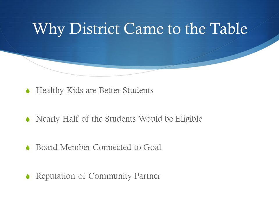 Why District Came to the Table  Healthy Kids are Better Students  Nearly Half of the Students Would be Eligible  Board Member Connected to Goal  R