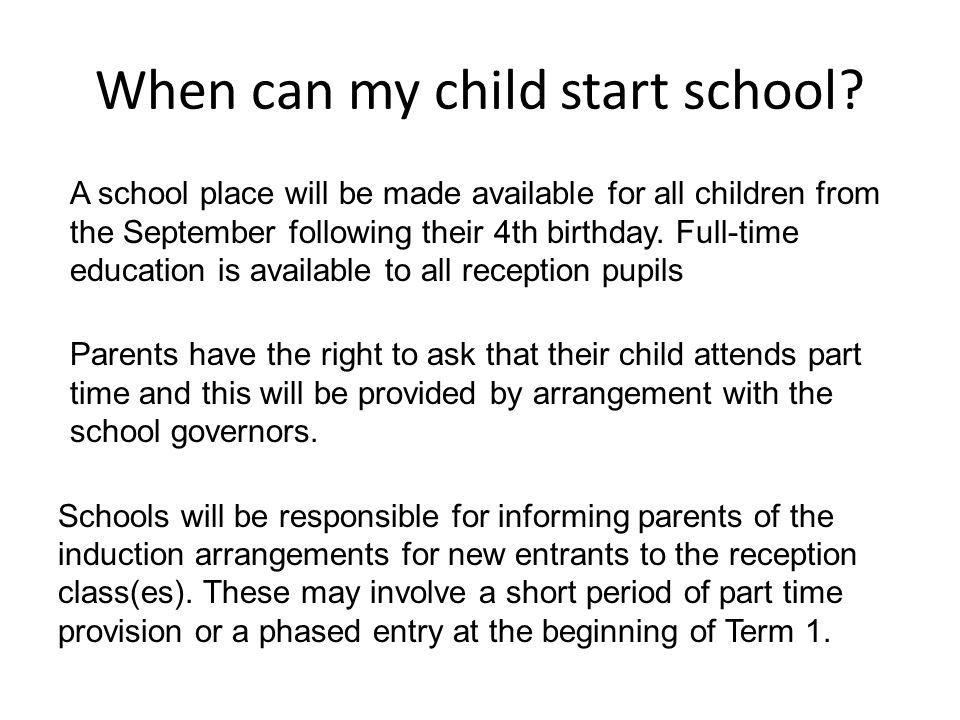 When can my child start school.