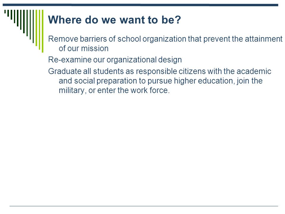 Where do we want to be? Remove barriers of school organization that prevent the attainment of our mission Re-examine our organizational design Graduat