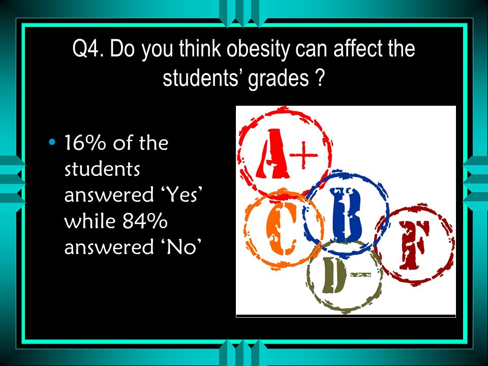 Q4. Do you think obesity can affect the students' grades .