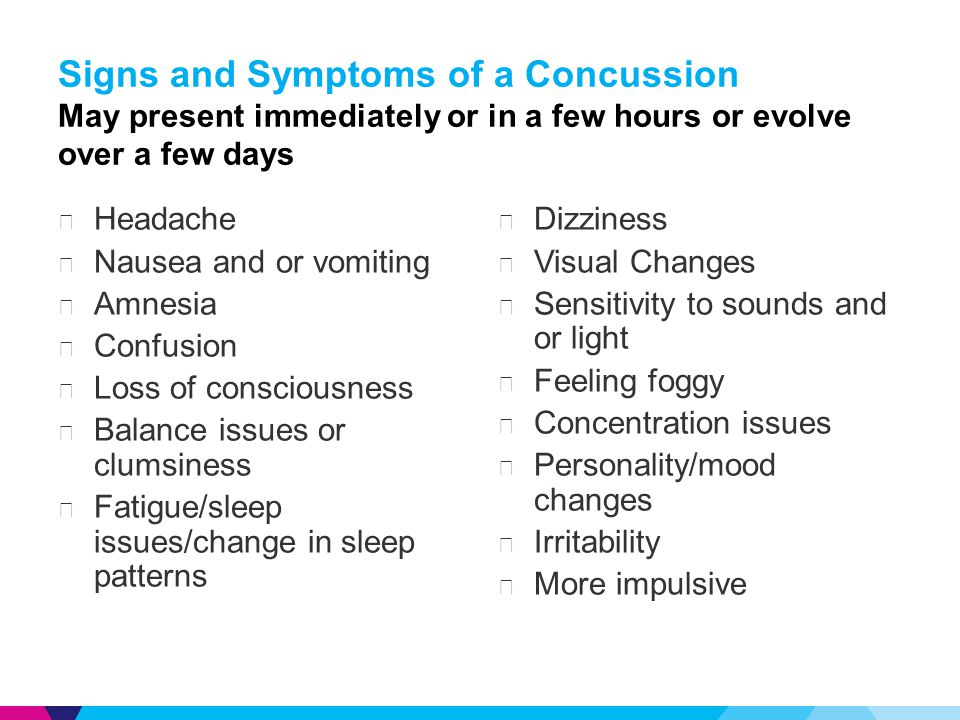 Signs and Symptoms of a Concussion May present immediately or in a few hours or evolve over a few days ▶ Headache ▶ Nausea and or vomiting ▶ Amnesia ▶ Confusion ▶ Loss of consciousness ▶ Balance issues or clumsiness ▶ Fatigue/sleep issues/change in sleep patterns ▶ Dizziness ▶ Visual Changes ▶ Sensitivity to sounds and or light ▶ Feeling foggy ▶ Concentration issues ▶ Personality/mood changes ▶ Irritability ▶ More impulsive