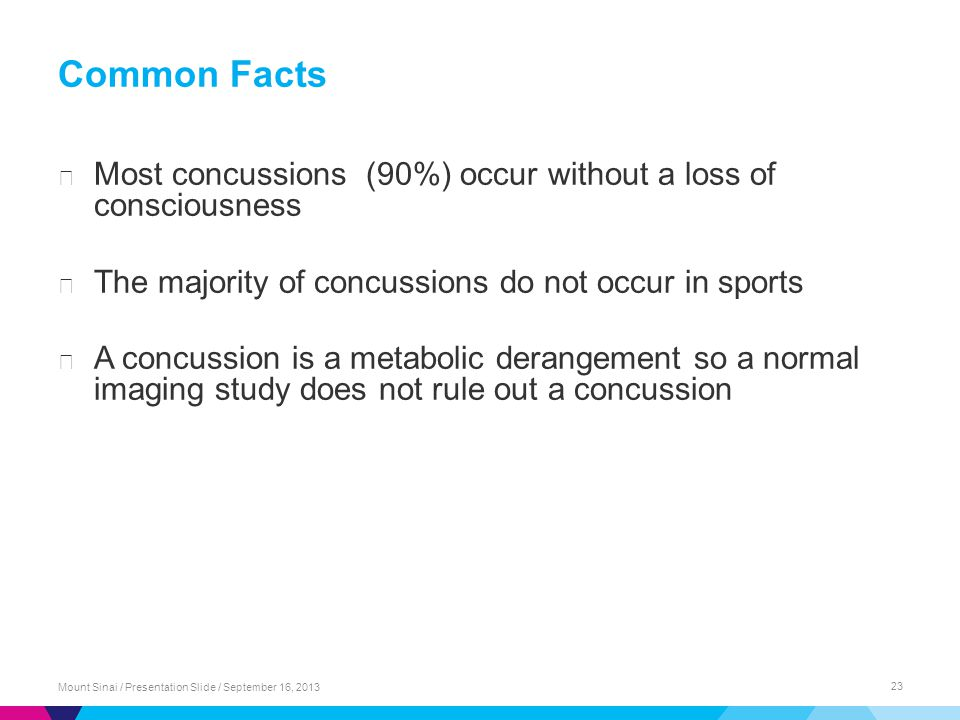 Common Facts ▶ Most concussions (90%) occur without a loss of consciousness ▶ The majority of concussions do not occur in sports ▶ A concussion is a m