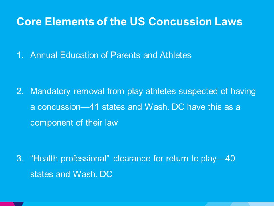 Core Elements of the US Concussion Laws 1.Annual Education of Parents and Athletes 2.Mandatory removal from play athletes suspected of having a concus