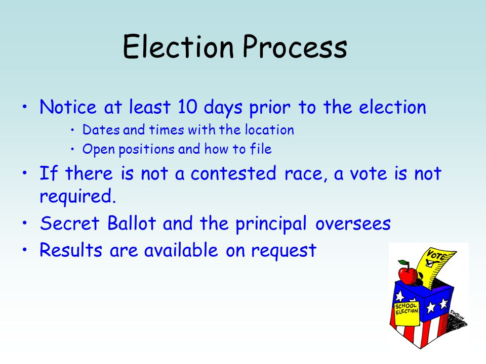 Election Process Notice at least 10 days prior to the election Dates and times with the location Open positions and how to file If there is not a cont
