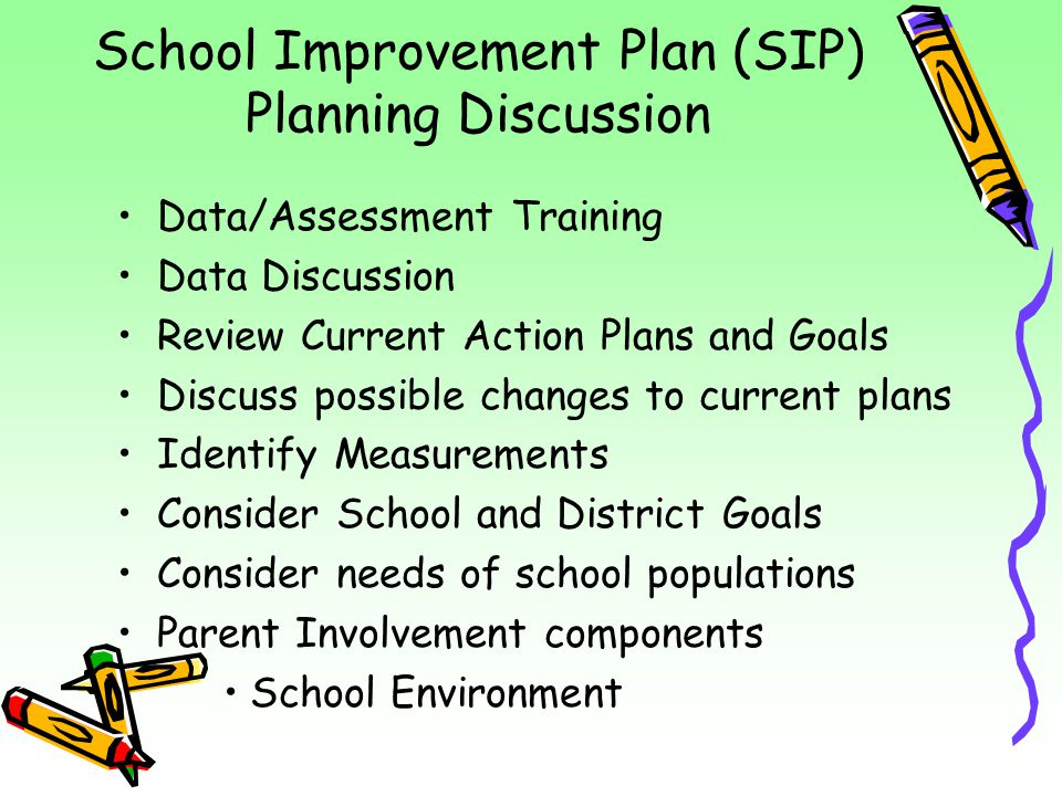 School Improvement Plan (SIP) Planning Discussion Data/Assessment Training Data Discussion Review Current Action Plans and Goals Discuss possible chan