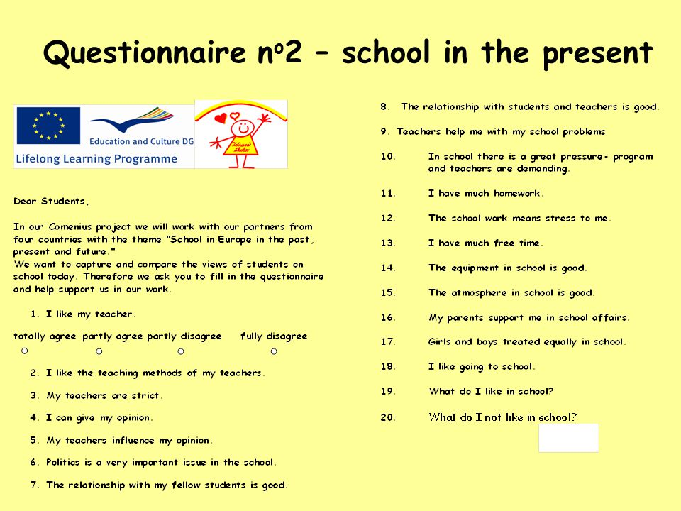 Result of questionnaire n o 2 School in the present questiontotalypartly fullymembers numberagree disagree 110256142 29266142 362412042 415205242 510199442 607201542 77332042 822315242 991910442 1041820042 1152611042 1251320442 1324171942 148275242 156304242 1620184042 1731417842 18212131542