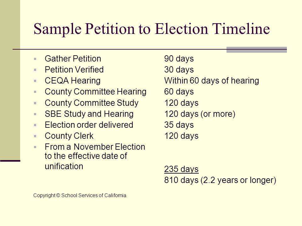 Sample Petition to Election Timeline  Gather Petition  Petition Verified  CEQA Hearing  County Committee Hearing  County Committee Study  SBE St