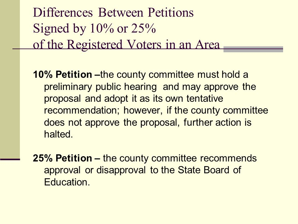 Differences Between Petitions Signed by 10% or 25% of the Registered Voters in an Area 10% Petition –the county committee must hold a preliminary public hearing and may approve the proposal and adopt it as its own tentative recommendation; however, if the county committee does not approve the proposal, further action is halted.
