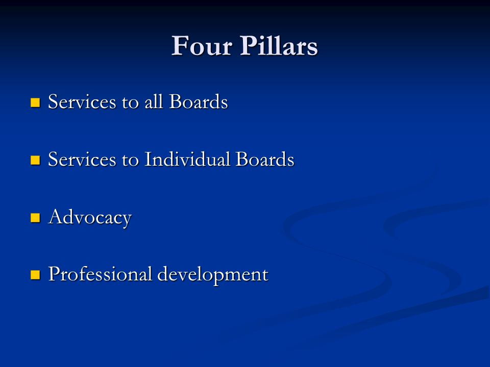 Four Pillars Services to all Boards Services to all Boards Services to Individual Boards Services to Individual Boards Advocacy Advocacy Professional development Professional development