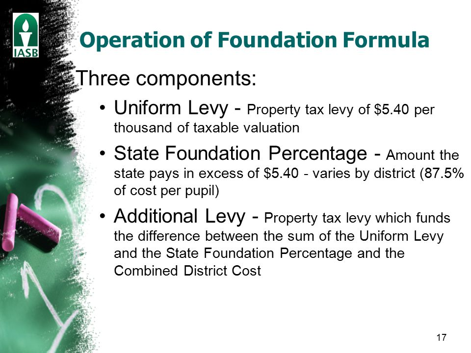 17 Operation of Foundation Formula Three components: Uniform Levy - Property tax levy of $5.40 per thousand of taxable valuation State Foundation Percentage - Amount the state pays in excess of $5.40 - varies by district (87.5% of cost per pupil) Additional Levy - Property tax levy which funds the difference between the sum of the Uniform Levy and the State Foundation Percentage and the Combined District Cost