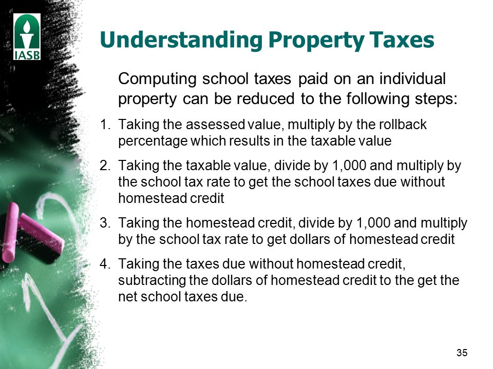 35 Understanding Property Taxes Computing school taxes paid on an individual property can be reduced to the following steps: 1.Taking the assessed value, multiply by the rollback percentage which results in the taxable value 2.Taking the taxable value, divide by 1,000 and multiply by the school tax rate to get the school taxes due without homestead credit 3.Taking the homestead credit, divide by 1,000 and multiply by the school tax rate to get dollars of homestead credit 4.Taking the taxes due without homestead credit, subtracting the dollars of homestead credit to the get the net school taxes due.