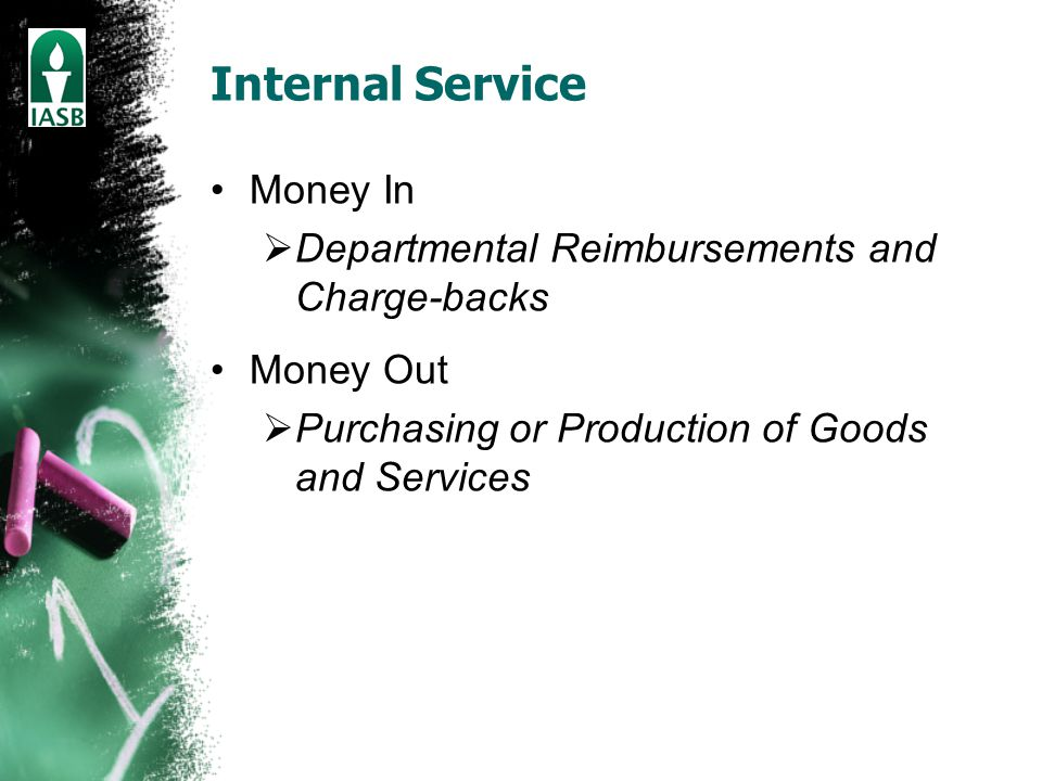 Internal Service Money In  Departmental Reimbursements and Charge-backs Money Out  Purchasing or Production of Goods and Services