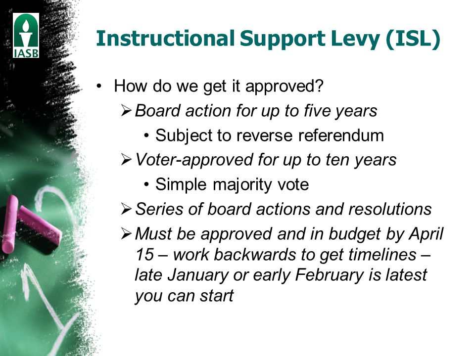 Instructional Support Levy (ISL) How do we get it approved.