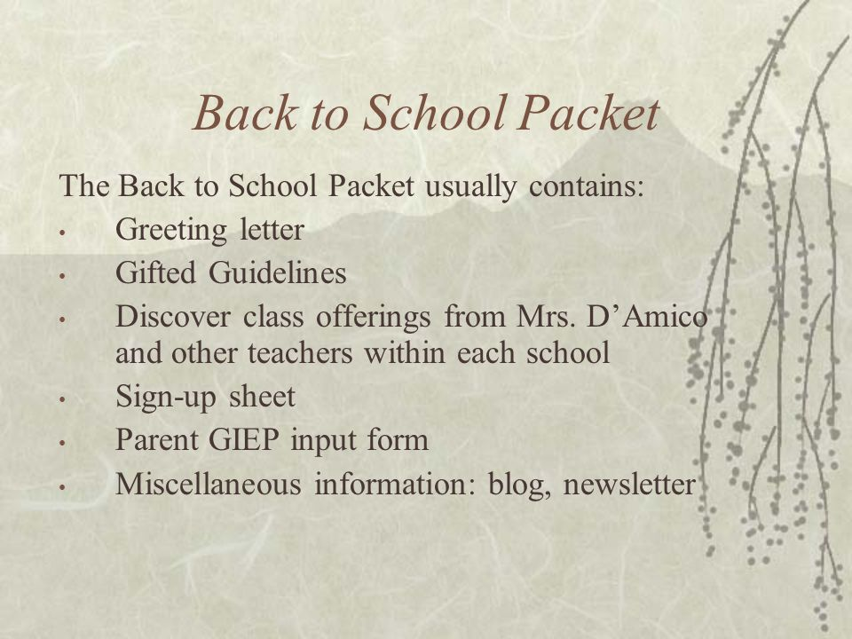 Back to School Packet The Back to School Packet usually contains: Greeting letter Gifted Guidelines Discover class offerings from Mrs. D'Amico and oth