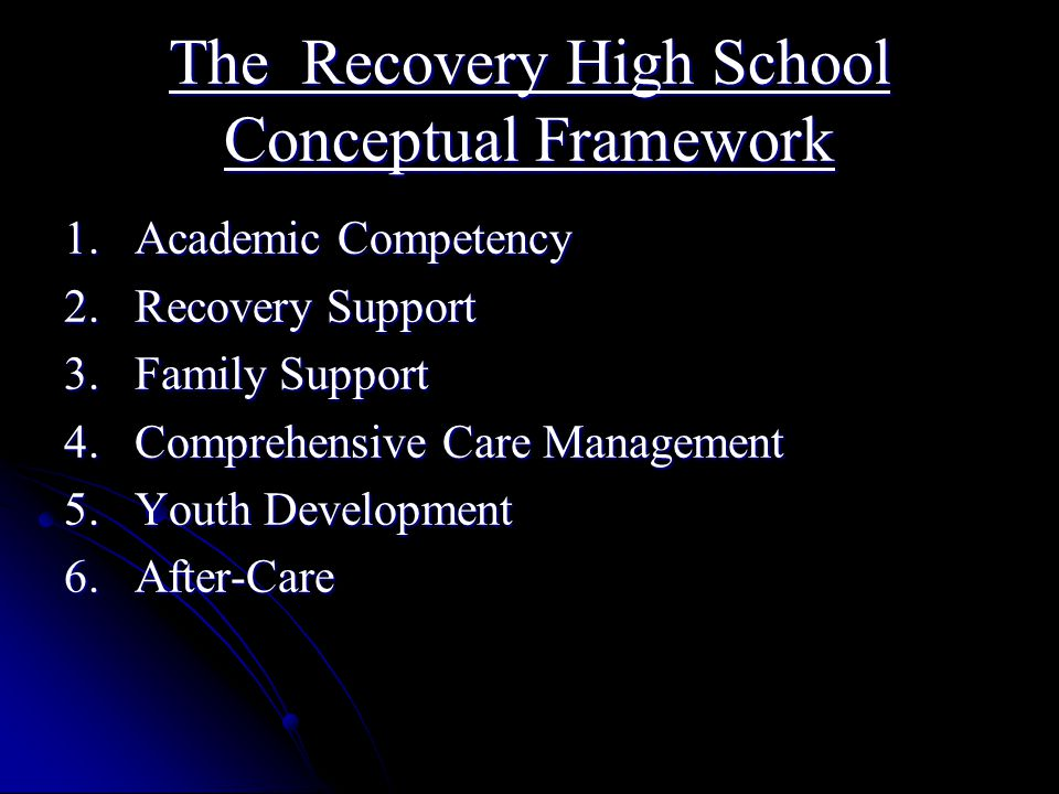 The Recovery High School Conceptual Framework 1. Academic Competency 2.
