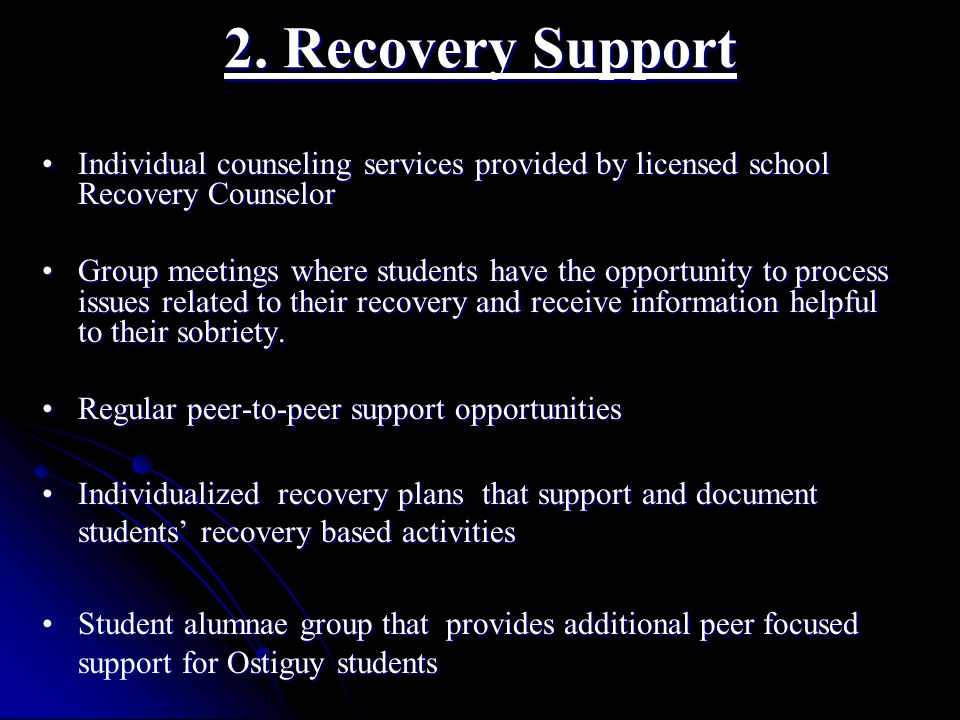 2. Recovery Support Individual counseling services provided by licensed school Recovery CounselorIndividual counseling services provided by licensed s
