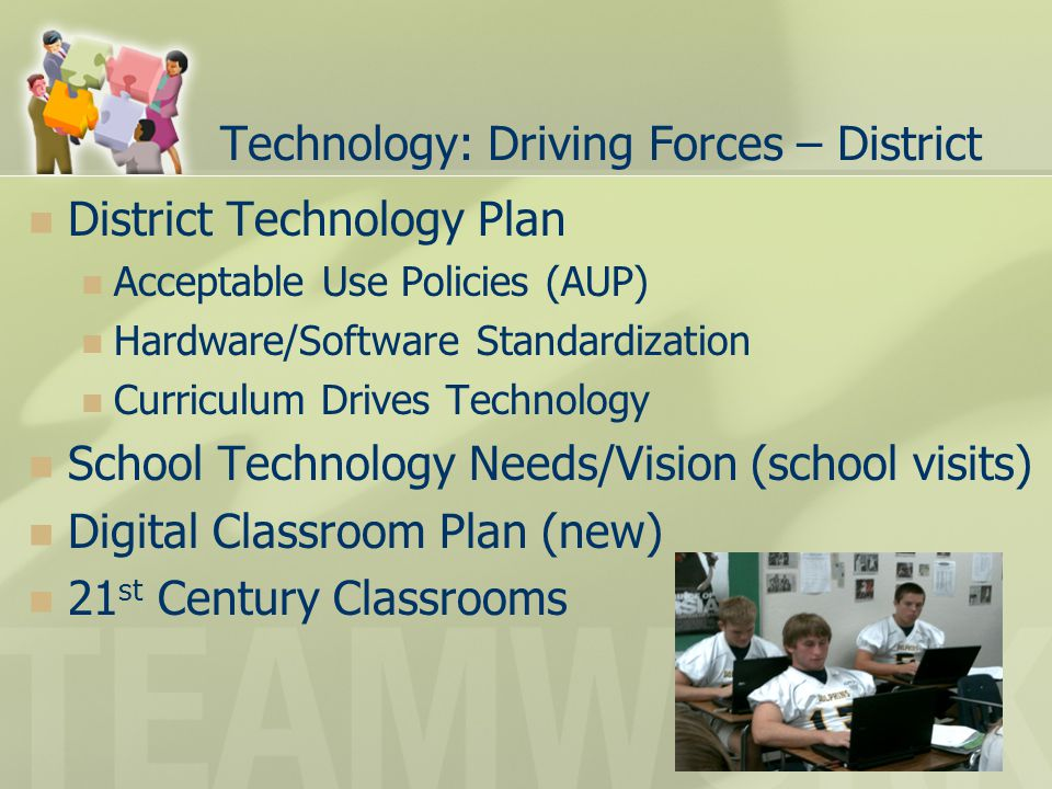 Technology: Driving Forces – District District Technology Plan Acceptable Use Policies (AUP) Hardware/Software Standardization Curriculum Drives Technology School Technology Needs/Vision (school visits) Digital Classroom Plan (new) 21 st Century Classrooms